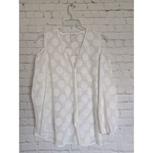 Chico's Dot Sheer White Cold Shoulder Blouse